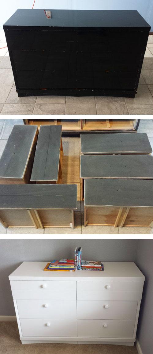 Como pintar una comoda de madera usando pintura blanca cheapest house on the block - Como restaurar una comoda ...